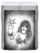 Black Metal Girl. Sofia Metal Queen. Sketch  Duvet Cover