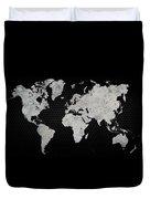 Black Metal Industrial World Map Duvet Cover
