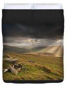 Black Mountains Light Rays Duvet Cover
