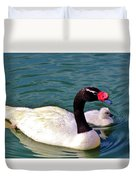 Black-necked Swan With Baby Duvet Cover