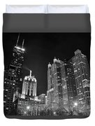 Black Night In The Windy City Duvet Cover