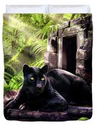 Black Panther Custodian Of Ancient Temple Ruins  Duvet Cover