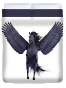 Black Pegasus On White Duvet Cover