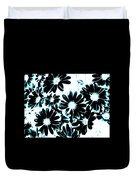 Black Petals With Sprinkles Of Teal Turquoise Duvet Cover