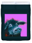 Black Pig Painting On Purple Duvet Cover