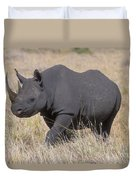 Black Rhino On The Masai Mara Duvet Cover