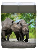 Black Rhinoceroses Duvet Cover