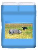 Black Rhinocerous Duvet Cover