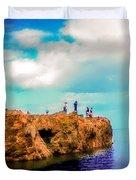 Black Rocks In Summer Duvet Cover