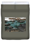 Black Rocks On Blue Water Duvet Cover