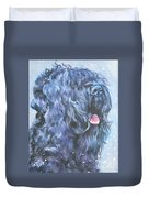 Black Russian Terrier In Snow Duvet Cover