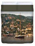 Black Sailboat At Villefranche II Duvet Cover