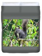 Black Squirrel In The Cherry Tree Duvet Cover