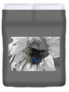 Black Swallowtail And Sunflower Color Splash Duvet Cover