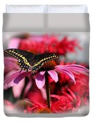 Black Swallowtail Butterfly With Coneflower And Monarda Duvet Cover