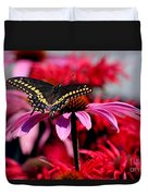Black Swallowtail Butterfly With Coneflowers And Bee Balm Duvet Cover