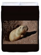 Black Tailed Prairie Dog Climbing Out Of A Hole Duvet Cover