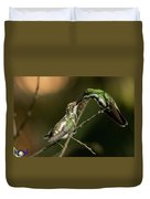 Black-throated Mango With Her Baby Hummingbird. Duvet Cover