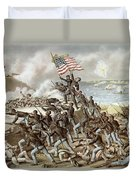 Black Troops Of The Fifty Fourth Massachusetts Regiment During The Assault Of Fort Wagner Duvet Cover