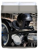 Black Vintage Style Motorcycle With Chrome And Black Helmet Duvet Cover