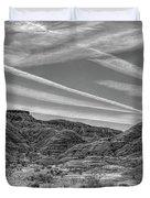 Black White Chem Trails Sky Overton Nevada  Duvet Cover