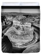 Black White Horseshoe Bend Arizona  Duvet Cover