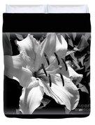 Black White Lilly Duvet Cover by Kip Krause