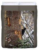 Black Woodpecker Peek Duvet Cover