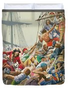 Blackbeard And His Pirates Attack Duvet Cover