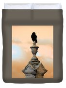 Blackbird And A Coral Sky Duvet Cover