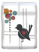 Blackbird With Circles Duvet Cover