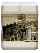 Blacksmith Shop 1867 Cove Creek Fort Utah Photograph In Sepia Duvet Cover