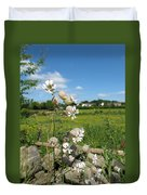 Bladder Campion On Stone Wall Duvet Cover