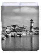 Black And White Oceanside California Marina  Duvet Cover