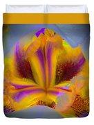 Blazing Heart Of An Iris Duvet Cover