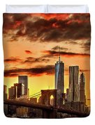 Blazing Manhattan Skyline Duvet Cover