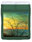 Blazing Sunrise And Grasses In Blue Duvet Cover