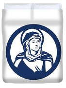 Blessed Virgin Mary Circle Retro Duvet Cover