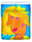 Blond Girl In A Yellow Hat Cubism Style Duvet Cover
