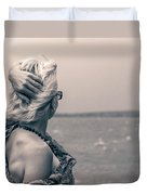 Blond Woman Looking To The Horizon. Duvet Cover