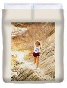 Blond Woman Trail Runner Duvet Cover