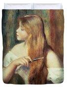 Blonde Girl Combing Her Hair Duvet Cover by Pierre Auguste Renoir