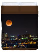 Blood Moon Over Downtown Duvet Cover