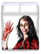 Bloody Zombie Woman With Severed Hand Duvet Cover