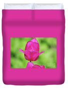 Blooming Dark Pink Tulip Flower Blossom In A Garden Duvet Cover