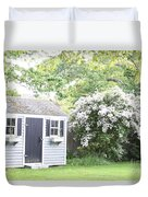 Blooming Tree Next To Shed Duvet Cover