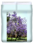 Blooming Tree With Purple Flowers Duvet Cover