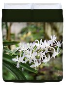 Blooming White Flower Spike Duvet Cover