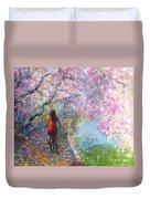 Blossom Alley Impressionistic Painting Duvet Cover by Svetlana Novikova