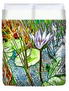 Blossom Lotus Flower In Pond Duvet Cover